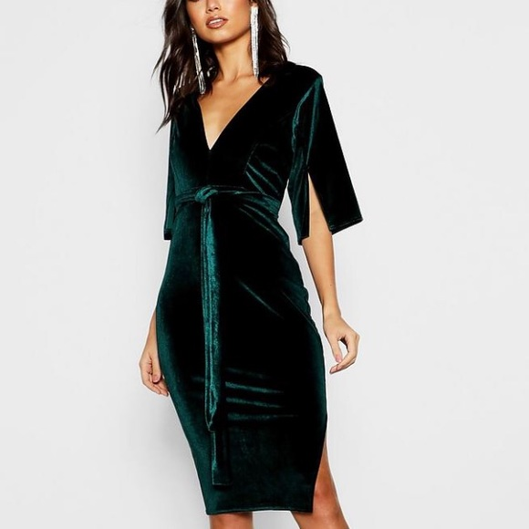 Boohoo Dresses   Skirts - Boohoo Green Velvet Kimono Tie Dress-US4 d751782de